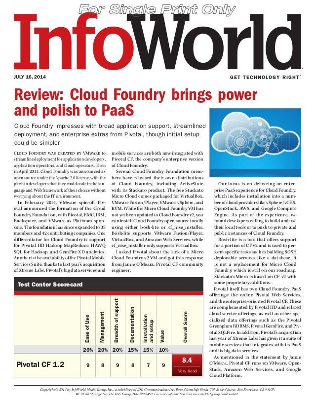 GET TECHNOLOGY RIGHT® JULY 16, 2014 Copyright © 2014 by InfoWorld Media Group, Inc., a subsidiary of IDG Communications In...