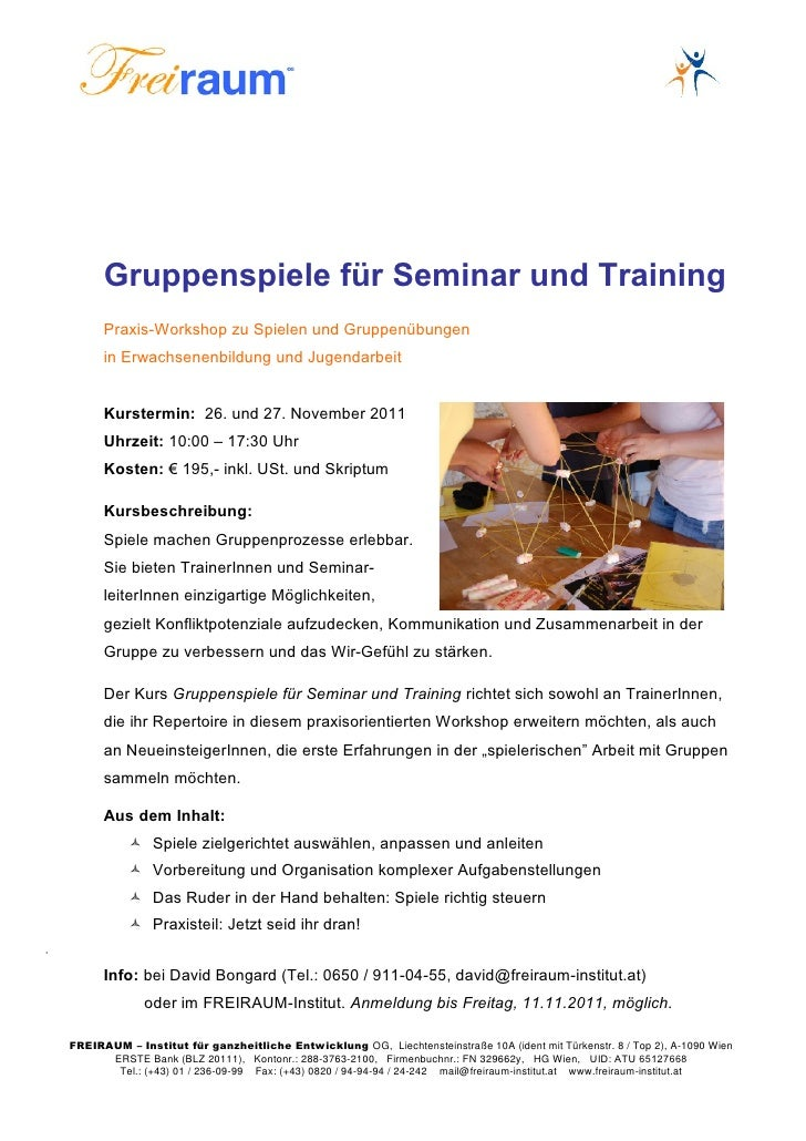 Gruppenspiele für Seminar und Training          Praxis-Workshop zu Spielen und Gruppenübungen          in Erwachsenenbildu...