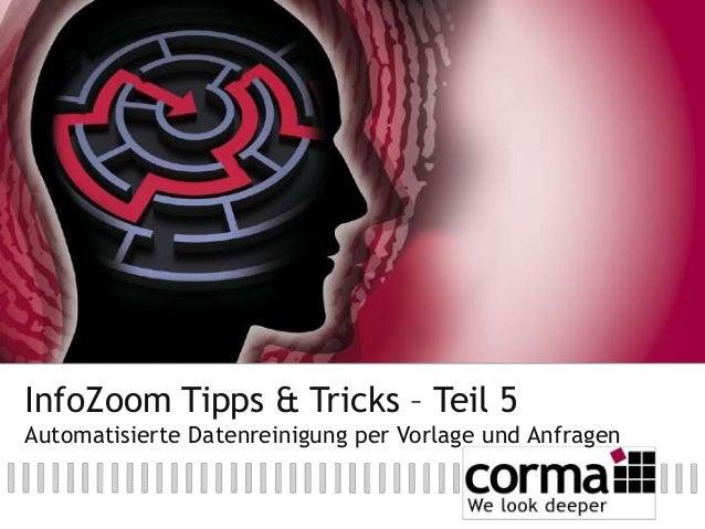 InfoZoom Tipps & Tricks – Teil 5 Automatisierte Datenreinigung per Vorlage und Anfragen