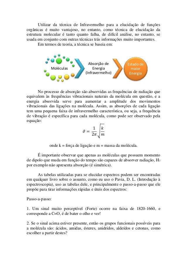 Utilizar da técnica de Infravermelho para a elucidação de funções orgânicas é muito vantajoso, no entanto, como técnica de...