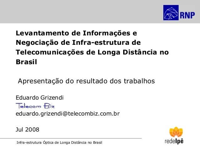 Infra-estrutura Óptica de Longa Distância no Brasil Levantamento de Informações e Negociação de Infra-estrutura de Telecom...