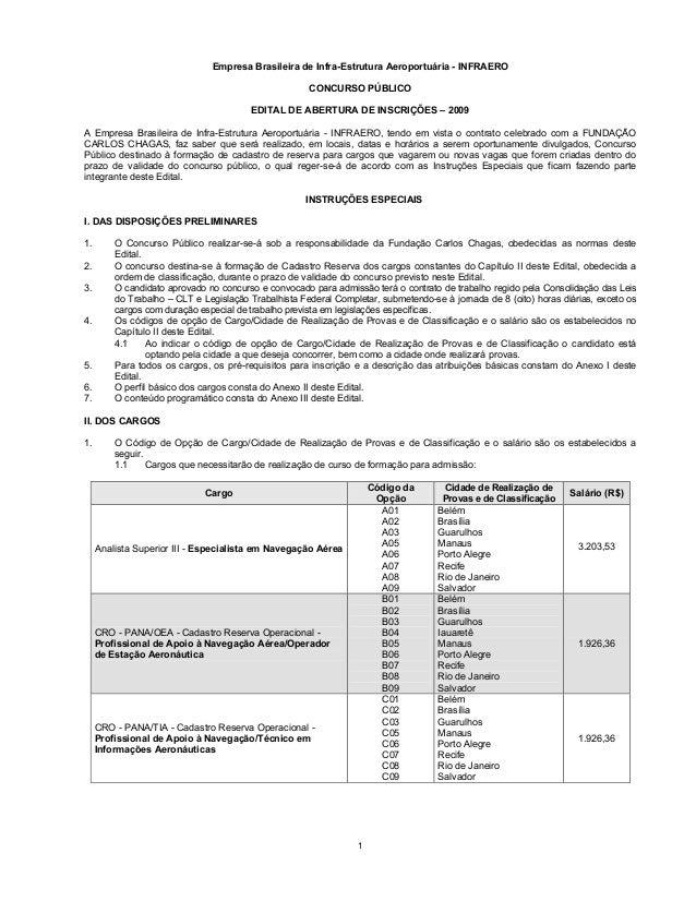 1 Empresa Brasileira de Infra-Estrutura Aeroportuária - INFRAERO CONCURSO PÚBLICO EDITAL DE ABERTURA DE INSCRIÇÕES – 2009 ...