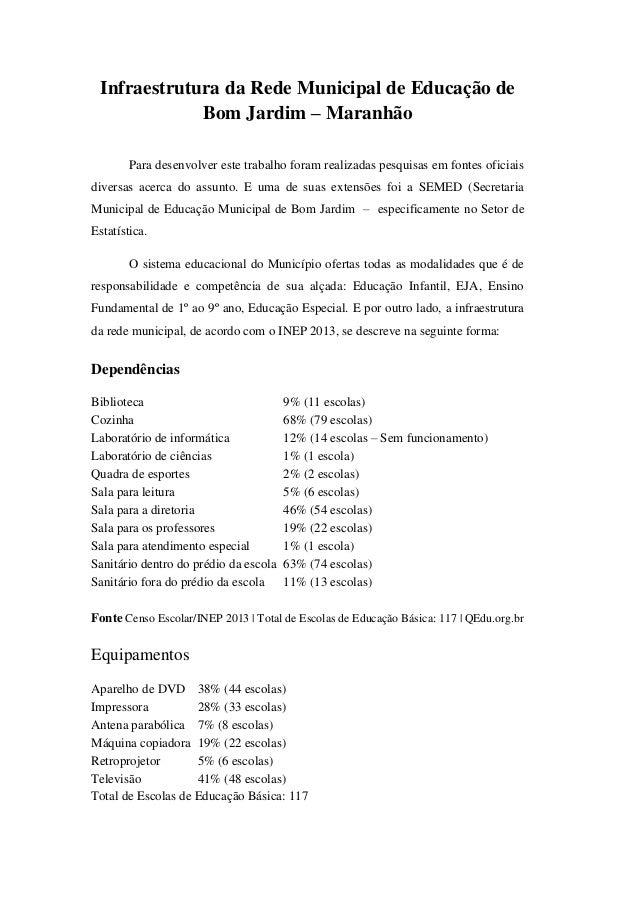 Infraestrutura da Rede Municipal de Educação de Bom Jardim – Maranhão Para desenvolver este trabalho foram realizadas pesq...