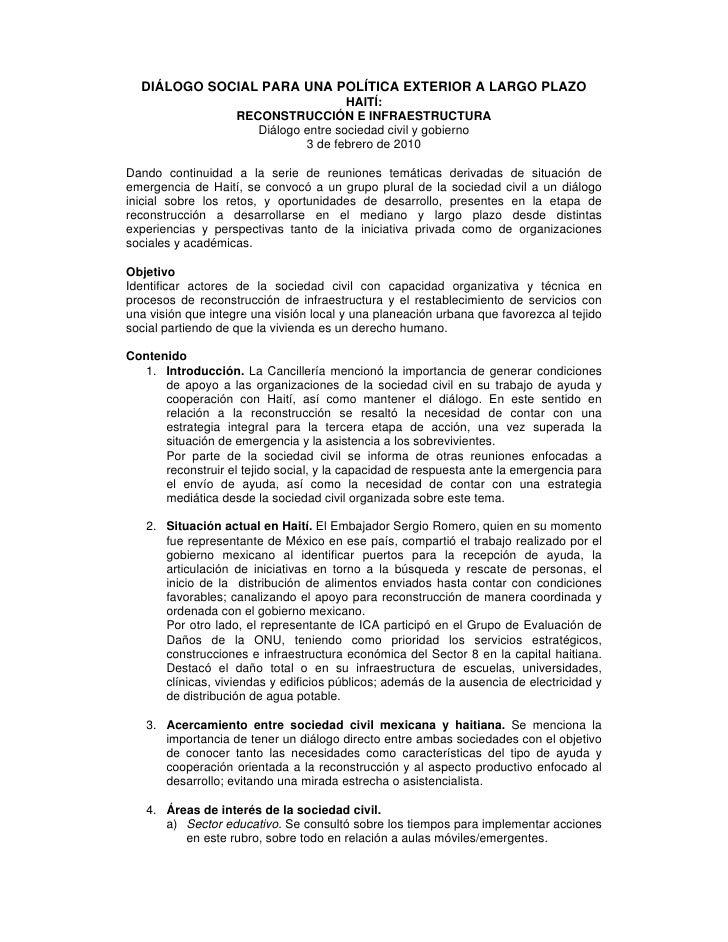 DIÁLOGO SOCIAL PARA UNA POLÍTICA EXTERIOR A LARGO PLAZO                                       HAITÍ:                    RE...