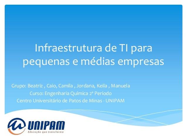 Infraestrutura de TI para pequenas e médias empresas Grupo: Beatriz , Caio, Camila , Jordana, Keila , Manuela Curso: Engen...