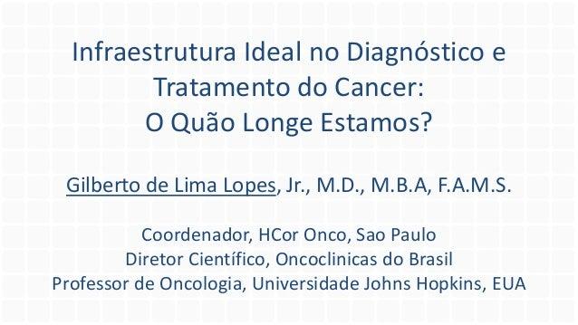 Infraestrutura Ideal no Diagnóstico e Tratamento do Cancer: O Quão Longe Estamos? Gilberto de Lima Lopes, Jr., M.D., M.B.A...