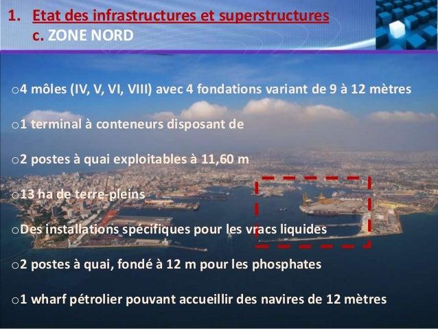 o4 môles (IV, V, VI, VIII) avec 4 fondations variant de 9 à 12 mètres o1 terminal à conteneurs disposant de o2 postes à qu...