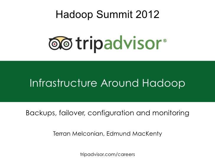 Hadoop Summit 2012 Infrastructure Around HadoopBackups, failover, configuration and monitoring       Terran Melconian, Edm...