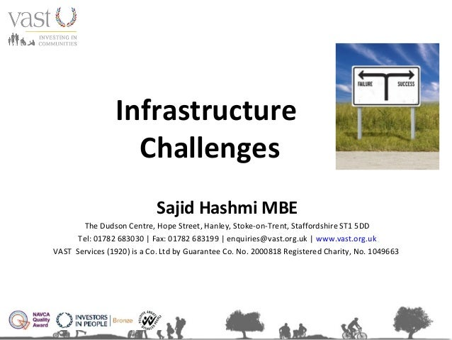 Infrastructure Challenges Sajid Hashmi MBE The Dudson Centre, Hope Street, Hanley, Stoke-on-Trent, Staffordshire ST1 5DD T...