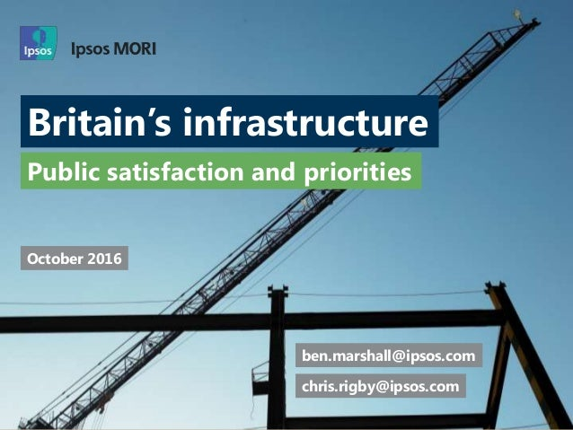 Britain's infrastructure Public satisfaction and priorities ben.marshall@ipsos.com chris.rigby@ipsos.com October 2016