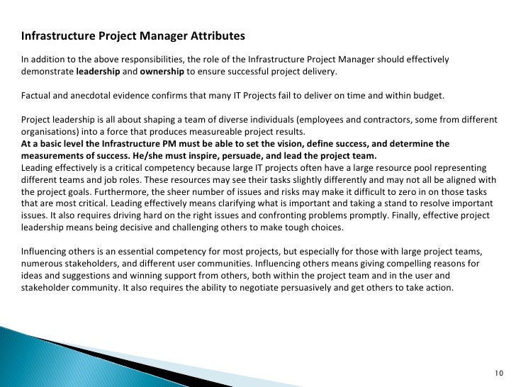 infrastructure project manager - Infrastructure Manager Job Description