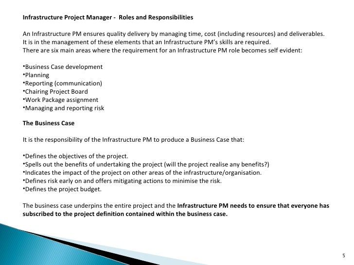 infrastructure project manager job description