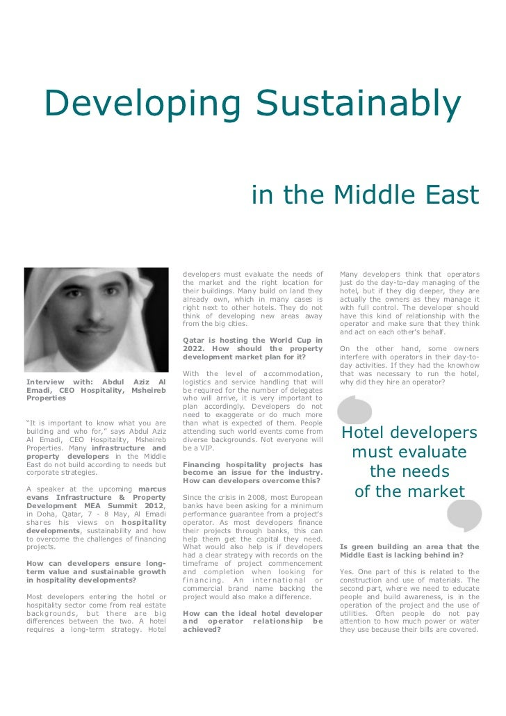 Developing Sustainably                                                              in the Middle East                    ...