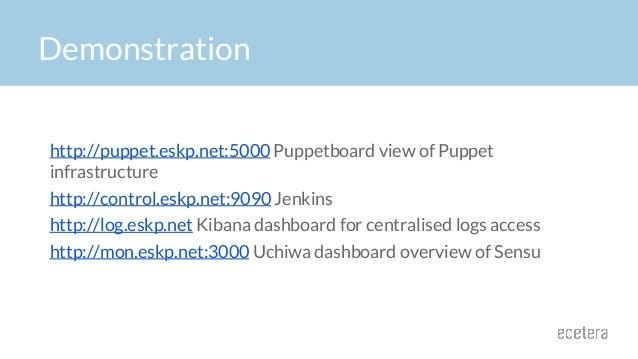 Demonstration http://puppet.eskp.net:5000 Puppetboard view of Puppet infrastructure http://control.eskp.net:9090 Jenkins h...