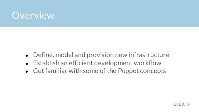Overview ● Define, model and provision new infrastructure ● Establish an efficient development workflow ● Get familiar wit...