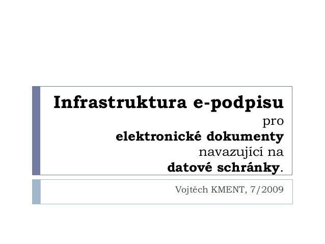 Infrastruktura e-podpisu                            pro      elektronické dokumenty                  navazující na        ...