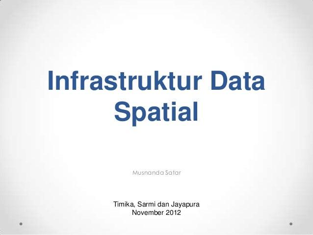 Infrastruktur Data      Spatial          Musnanda Satar     Timika, Sarmi dan Jayapura           November 2012