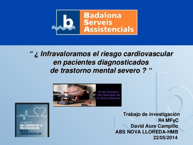 """"" ¿¿ Infravaloramos el riesgo cardiovascularInfravaloramos el riesgo cardiovascular en pacientes diagnosticadosen pacient..."