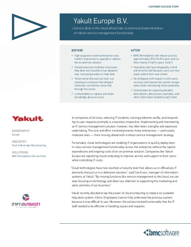 CUSTOMER SUCCESS STORY                                  Yakult Europe B.V.                                » Service desk i...
