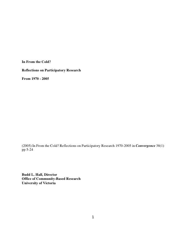 In From the Cold?  Reflections on Participatory Research  From 1970 - 2005     (2005) In From the Cold? Reflections on Par...