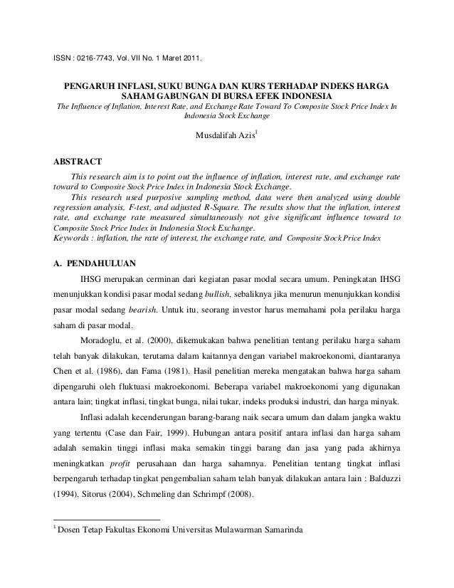 ISSN : 0216-7743, Vol. VII No. 1 Maret 2011.      PENGARUH INFLASI, SUKU BUNGA DAN KURS TERHADAP INDEKS HARGA             ...