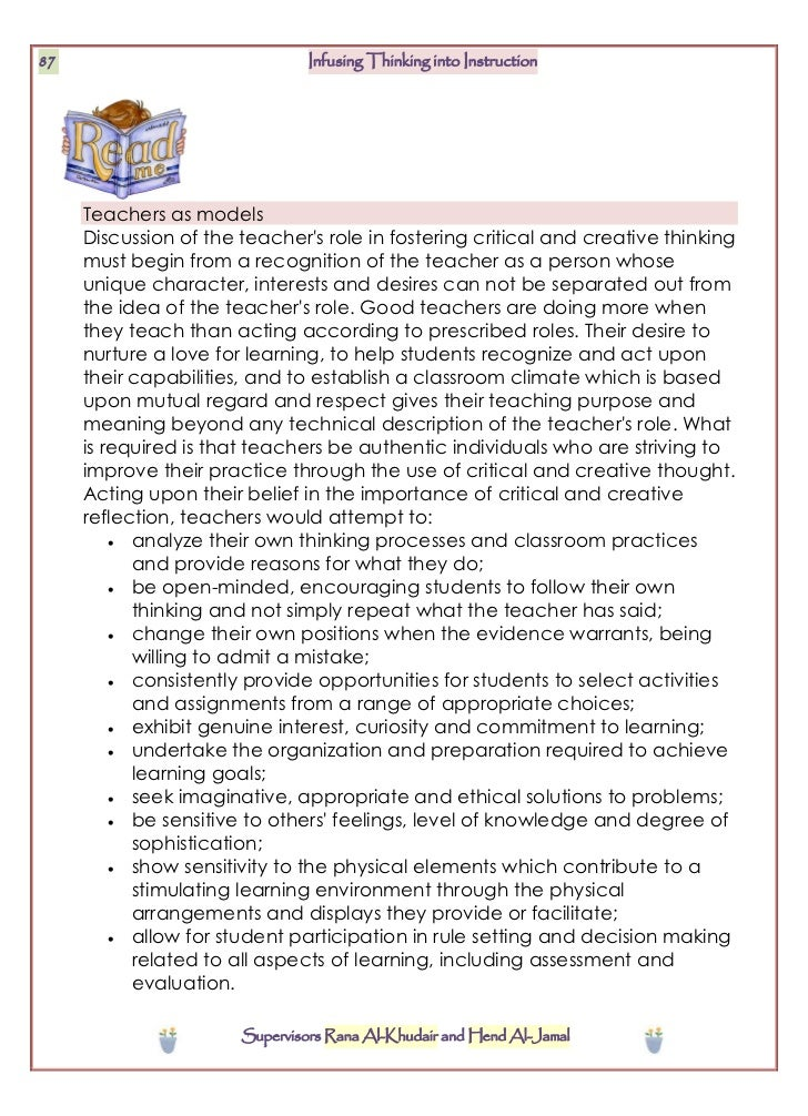 infusing the teaching of critical and creative thinking into elementary instruction Scopri infusing the teaching of critical and creative thinking into elementary instruction: a lesson design handbook di robert j swartz, sandra parks: spedizione gratuita per i clienti.