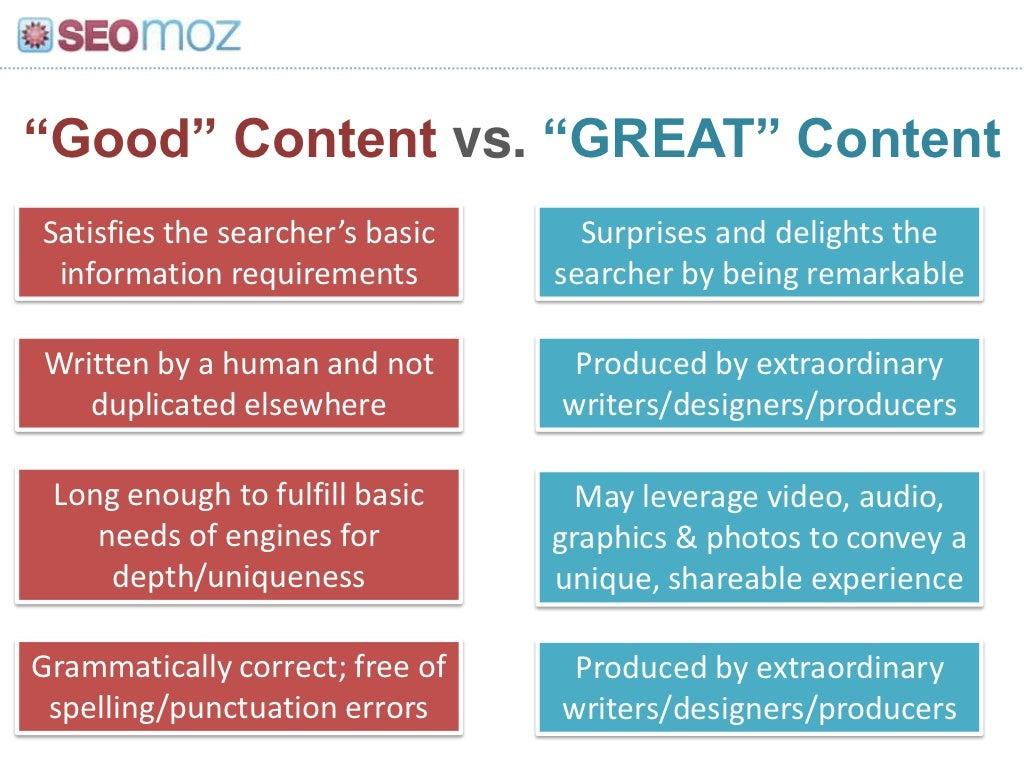 "Good"" Content vs. ""GREAT"" Content<br"