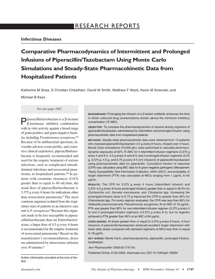 RESEARCH REPORTS Infectious Diseases  Comparative Pharmacodynamics of Intermittent and Prolonged Infusions of Piperacillin...