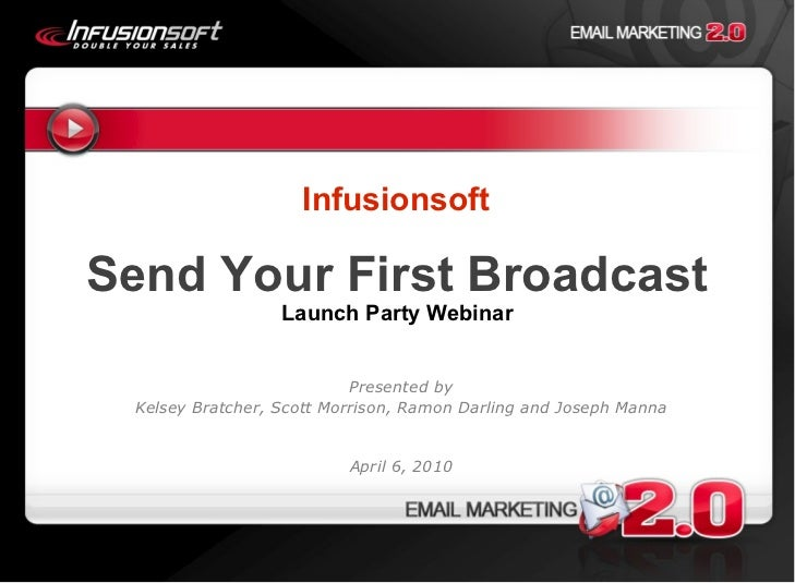 Infusionsoft Send Your First Broadcast Launch Party Webinar Presented by Kelsey Bratcher, Scott Morrison, Ramon Darling an...