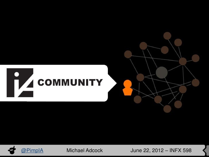 COMMUNITY@PimpIA   Michael Adcock   June 22, 2012 – INFX 598
