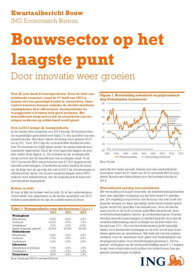 Kwartaalbericht BouwING Economisch BureauBouwsector op hetlaagste puntDoor innovatie weer groeienOok dit jaar daalt de bou...