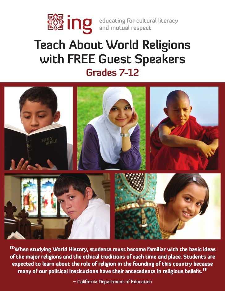 """Teach About World Religions           with FREE Guest Speakers                               Grades 7-12""""When studying Wor..."""