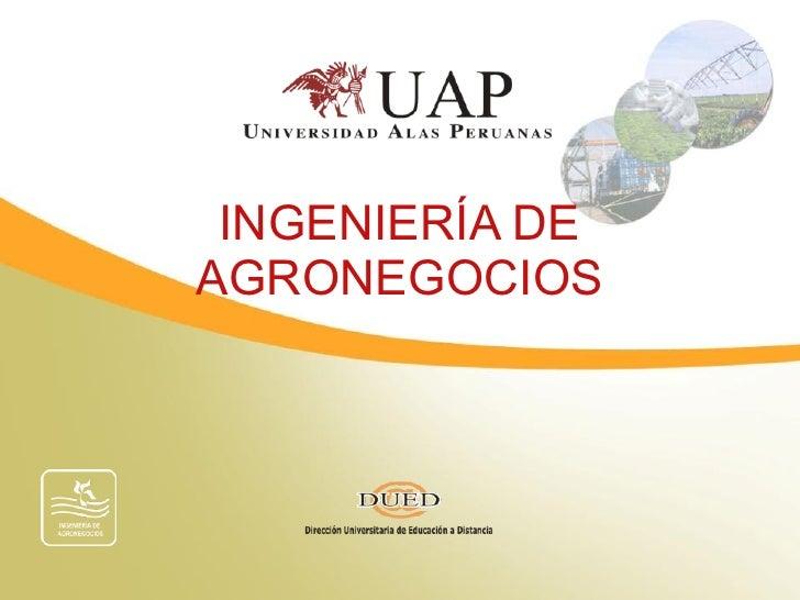 INGENIERÍA DE AGRONEGOCIOS
