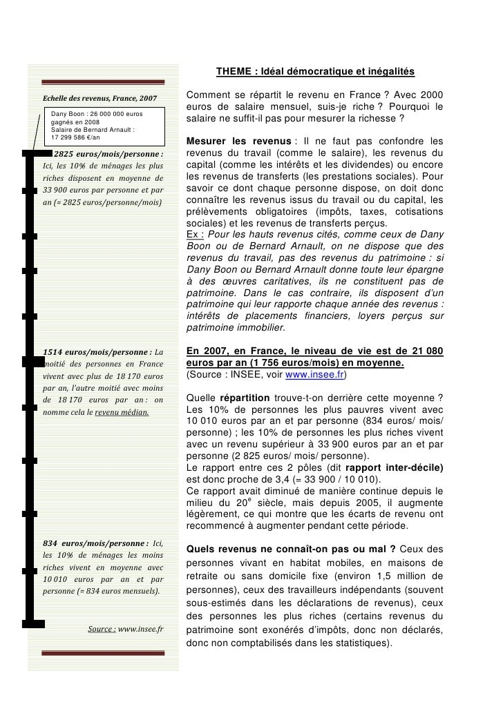 THEME : Idéal démocratique et inégalitésEchelle des revenus, France, 2007    Comment se répartit le revenu en France ? Ave...