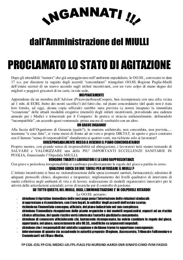 """dall'Amministrazione del MIULLI  PROCLAMATO LO STATO DI AGITAZIONE Dopo gli attendibili """"rumors"""" che già serpeggiavano nel..."""