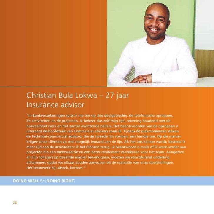 """Christian Bula Lokwa – 27 jaar      Insurance advisor      """"In Bankverzekeringen spits ik me toe op drie deelgebieden: de ..."""