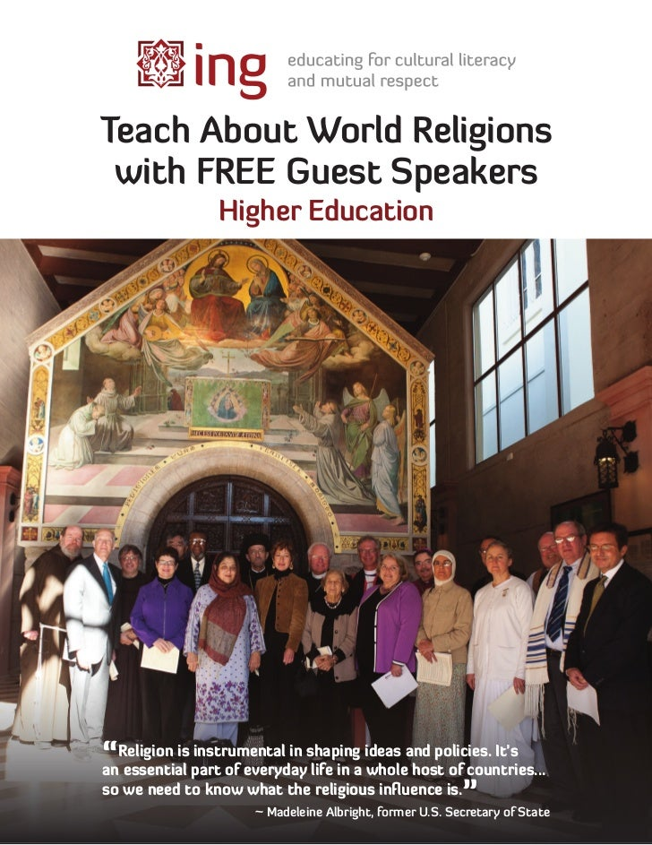 "Teach About World Religions with FREE Guest Speakers                Higher Education""Religion is part of everydayshapinga ..."