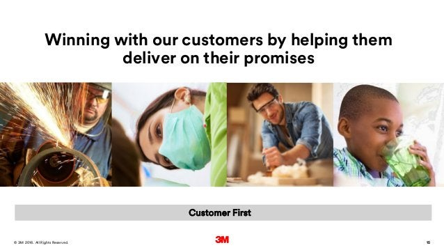 15. All Rights Reserved.28 March 2016© 3M 15 Winning with our customers by helping them deliver on their promises Customer...