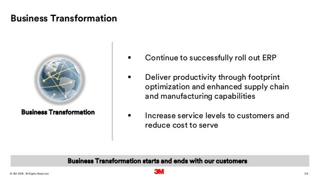 26. All Rights Reserved.28 March 2016© 3M Business Transformation  Continue to successfully roll out ERP  Deliver produc...