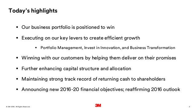 3. All Rights Reserved.28 March 2016© 3M Today's highlights  Our business portfolio is positioned to win  Executing on o...