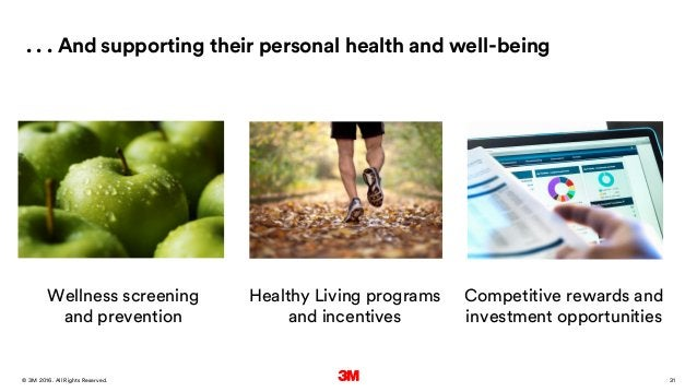 31. All Rights Reserved.28 March 2016© 3M . . . And supporting their personal health and well-being Wellness screening and...