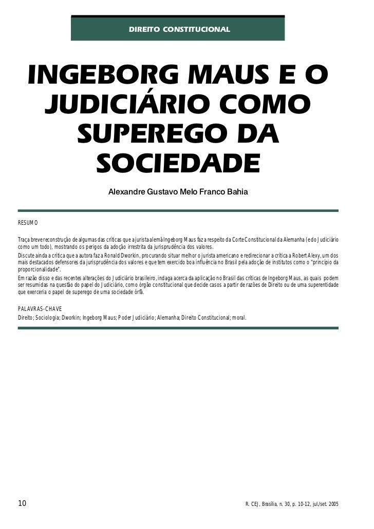 DIREITO CONSTITUCIONAL     INGEBORG MAUS E O      JUDICIÁRIO COMO        SUPEREGO DA         SOCIEDADE                    ...