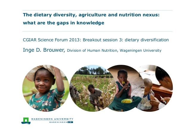 The dietary diversity, agriculture and nutrition nexus: what are the gaps in knowledge CGIAR Science Forum 2013: Breakout ...
