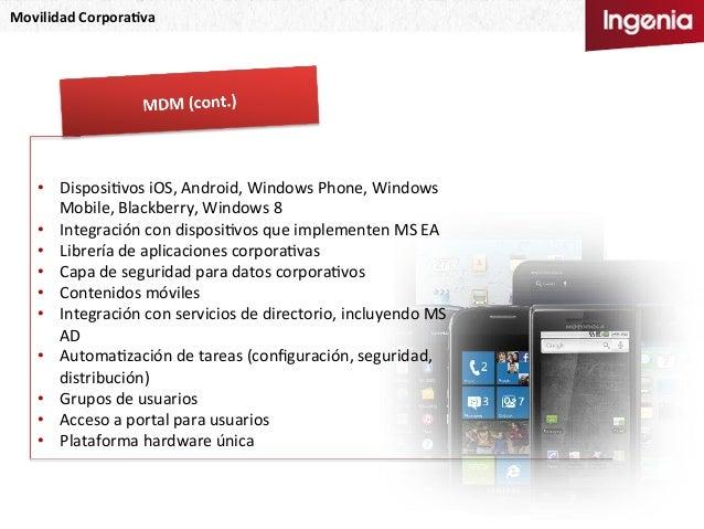 Movilidad  Corpora,va   • DisposiNvos  iOS,  Android,  Windows  Phone,  Windows   Mobile,  Blackberry,...