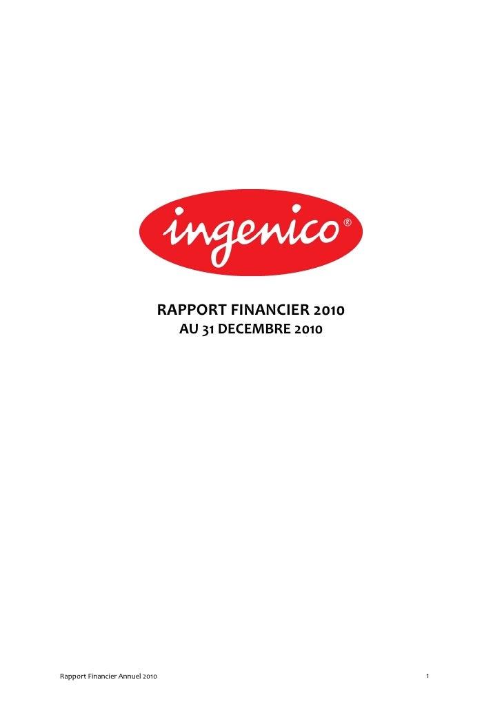 RAPPORT FINANCIER 2010                                AU 31 DECEMBRE 2010Rapport Financier Annuel 2010                    ...