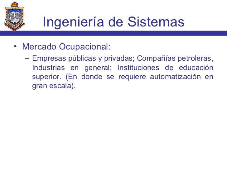 <ul><li>Mercado Ocupacional: </li></ul><ul><ul><li>Empresas públicas y privadas; Compañías petroleras, Industrias en gener...