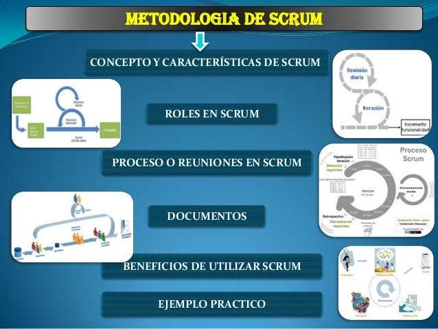 METODOLOGIA DE SCRUM CONCEPTO Y CARACTERÍSTICAS DE SCRUM  ROLES EN SCRUM  PROCESO O REUNIONES EN SCRUM  DOCUMENTOS  BENEFI...