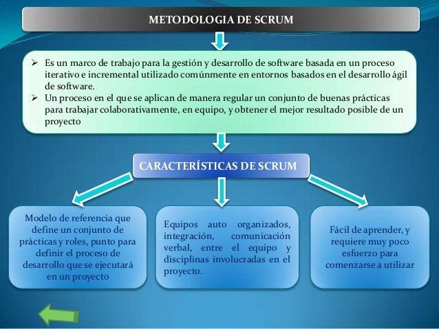 METODOLOGIA DE SCRUM   Es un marco de trabajo para la gestión y desarrollo de software basada en un proceso iterativo e i...