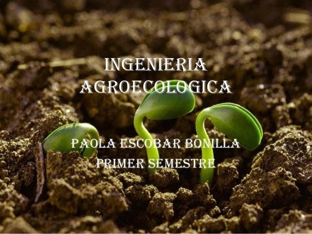 INGENIERIA AGROECOLOGICA PAOLA EsCObAR bONILLA PRImER sEmEstRE