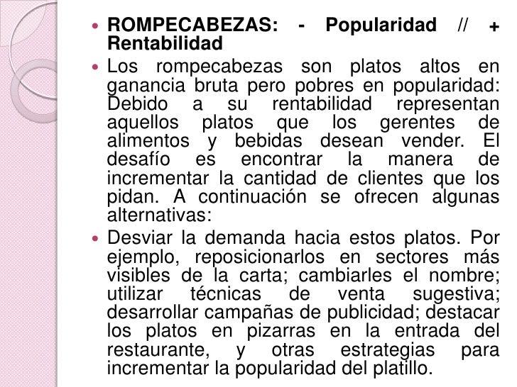 ROMPECABEZAS: - Popularidad // + Rentabilidad<br />Los rompecabezas son platos altos en ganancia bruta pero pobres en popu...